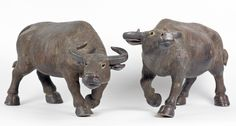RARE PAIR CHINESE STONEWARE WATER BUFFALO FIGURES 19TH C. Chinese Figurines, Water Buffalo, Stoneware, Cow, Lion Sculpture, Pairs, Statue, Antiques, Rice