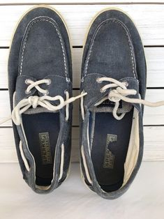df5cca68980f96 Sperry Mens Top Sider Blue Cotton Canvas Boat Tennis Shoe Sneakers Sz 11.5  M  SperryTopSider