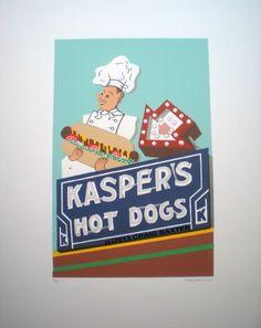 KASPER'S HOT DOGS- Screenprint - Oakland, California
