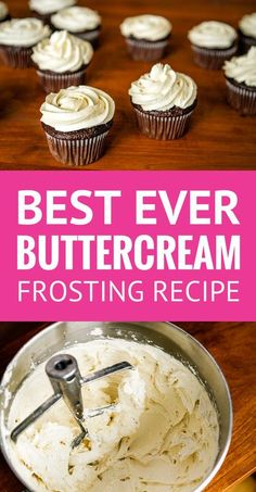 Best Buttercream Frosting Recipe -- Pinned over times! Super creamy and fluffy, not too sweet, this is quite possibly the BEST buttercream frosting recipe ever. Whipped Buttercream Frosting, Cake Frosting Recipe, Cupcake Frosting, Butter Cream Icing Recipe, Best Icing Recipe, Best Cupcake Icing, Homemade Cupcake Icing, Cake, Cake Decorating Techniques