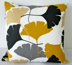 Ginkgo leaf motif retro mustard yellow, white, grey and black cushion Cover, contemporary designer fabric slip cover, throw pillow. $25.00, via Etsy.