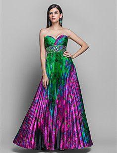 Una línea de novia palabra de longitud satinado vestido de n... – USD $ 199.99