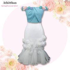 Athitthan's Spring-Summer 2015 Collection is Here! (Floral Drape Crop Top with Floral White Pearl Jacguard Skirt). for more infos contact us via LINE (Line ID: athitthan_official)