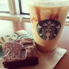 Starbucks and a delicious looking brownie...