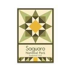 Saguaro National Park Quilt Block designed by Susan Davis. Susan is the owner… Barn Quilt Designs, Barn Quilt Patterns, Pattern Blocks, Quilting Designs, Quilting Patterns, Quilting Ideas, Fabric Patterns, Painted Barn Quilts, American Quilt