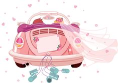 Just Married Auto, Wedding Images, Wedding Cards, Car Wedding, Auto Cartoon, Cars Cartoon, Car Illustration, Photography Illustration, Diy Crafts