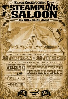 Steampunk Saloon : Poster Design on Behance
