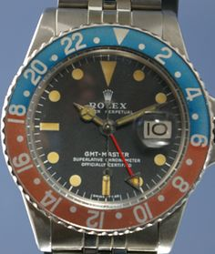 """1975 Rolex GMT Master. Nice vintage GMT with the great looking """"Pepsi"""" bezel.  Rolexes'sss (Rolices?) are one investment almost guaranteed to increase in value, as long as they are kept in good condition."""