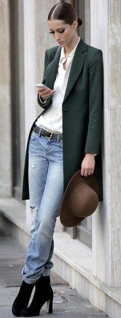 Dark green blazer jacket