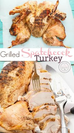 No more uneven turkey! This grilled spatchcock turkey is juicy all around! With this technique, all cuts cook evenly and ensure a perfect grilled turkey! Kabob Recipes, Grilling Recipes, Fish Recipes, Meat Recipes, Vegetarian Recipes, Copycat Recipes, Camping Recipes, Easy Chicken Recipes, Turkey Recipes