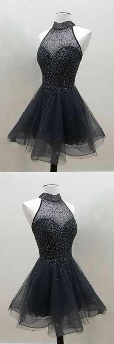 A-Line Black High Neck Tulle Short Formal Homecoming