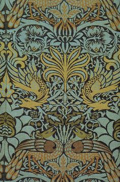 'Peacock and dragon' textile design by William Morris, produced by Morris & co in 1878
