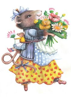 "....... ""and look who is now bringing us a whole bunch of flowers picked from the garden for us to enjoy while we drink our tea.  Oh teedee dumdee oh teedee!!"""