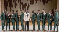 Green Pink & Creme Groom and Groomsmen Tuxes(Photo by Repost from Green Wedding Suit, Tuxedo Wedding, Purple Wedding, Wedding Suits, Wedding Attire, Olive Green Weddings, Emerald Green Weddings, Groom And Groomsmen Attire, Bridesmaids And Groomsmen