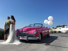 Wedding ideas for your destination wedding in Santorini car Santorini Wedding, Greece Wedding, Wedding Car, Destination Wedding, Vintage Cars, Antique Cars, Here Comes The Bride, Weddingideas, Engagement Photos