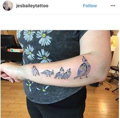Quail family Quail Tattoo, I Tattoo, Minneapolis, Minnesota, Bailey May, Botanical Tattoo, Custom Tattoo, Tattoo Inspiration, Tattoo Artists