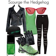 Scourge the Hedgehog (Sonic the Hedgehog) by danielleweaver267 on Polyvore featuring Salomon, Ted Baker, videogames, sonicthehedgehog, Sega and scourgethehedgehog