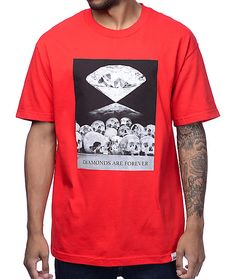 Premium style and comfort are what you can expect from the Diamonds Are Forever t-shirt in the red colorway from Diamond Supply Co. Crafted with a pure cotton construction and a tagless neckline for comfort, this crew neck tee showcases a front photo grap