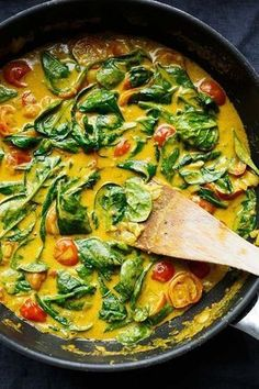 Coconut Curry with Spinach and Tomatoes - Cooking Carousel Coconut Curry with Spinach and T . - Coconut curry with spinach and tomatoes – Cooking carousel Coconut curry with spinach and tomatoe -
