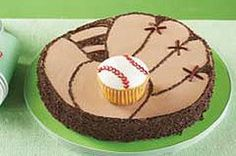 Baseball mitt cake to go with the baseball cake, cute, so cute with baseball cupcakes, Just Desserts, Delicious Desserts, Yummy Food, Cake Cookies, Cupcake Cakes, Yummy Treats, Sweet Treats, Cake Recipes, Dessert Recipes