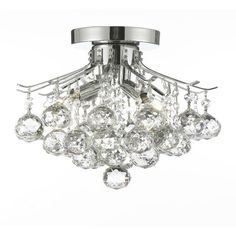Empire Crystal 4-Light Chrome Flush Mount Chandelier-T40-388 - The Home Depot