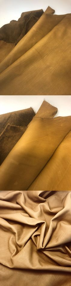 Italian Goatskin leather skin Goat Hide distressed Pale Yellow 3 Sq.Ft