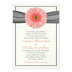 Pale Coral or Peach Gerbera and Grey Ribbon Wedding Invitation. Just Personalize the text!