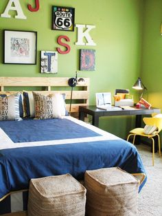 These are the colors we are doing in Carson's bedroom, green, burnt orange and a dark blue (haven't fully decided on the shade of blue yet)