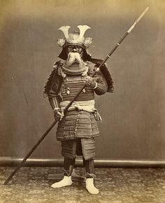 Samurai in full armor w spear