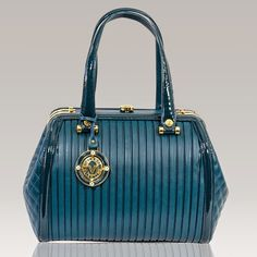 2015 Collection! New arrival from Italy! Valentino Orlandi Designer Blue Plisse Textured Leather Satchel Bag