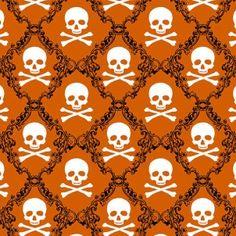 http://www.plushaddict.co.uk/windham-fabrics-raven-orange-skulls.html Windham Fabrics - Raven Orange Skulls