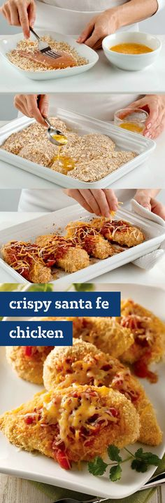 Crispy Santa Fe Chicken – This chicken breast dish recipe boasts four kinds of melty cheese, salsa, and a perfectly crispy crust, thanks to crushed crackers!