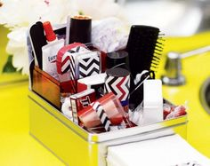 Bathroom amenity baskets are a staple at social events, sometimes tying to the e. - The little thins - Event planning, Personal celebration, Hosting occasions Meeting Of The Minds, Bathroom Baskets, Food Tags, Bridal Shower Games, Social Events, Graphic Patterns, Bar Mitzvah, Event Decor, Event Ideas