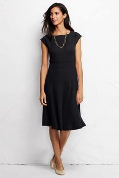 Women's Ponté Flounce Skirt Dress from Lands' End - love the teal!