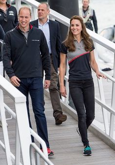 Prince William, Duke of Cambridge and Catherine Duchess of Cambridge visit Land Rover BAR at the America's Cup World Series on July 24, 2016 in Portsmouth, England. The Duke and Duchess of Cambridge met with members of the 1851 Trust charity.