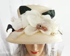 Cream straw hat with huge cream flowers and high crown, Thomaiy, high end milliner, 1990s by CardCurios on Etsy