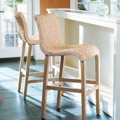 Pull up one of our gracefully flowing Sanders Wicker Barstools, and get a new feel for texture. There just something so special about the richness    of handwoven natural materials.            The armless, low-back design provides freedom of movement                The cascading seat and hand-touched diamond weave give the room renewed depth and character                Whitewashed wicker is handwoven around a washed-natural, solid-mahogany frame        Imported.