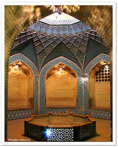 Iran / Shiraz  Sa'di tomb teahouse ...    This is an underground teahouse set around a fish pond in Sa'di tomb but didn't serve tea ( or anything else ! ) at that time .