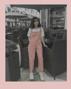 look of the day, pink and white Korean Girl Fashion, Korean Fashion Trends, Ulzzang Fashion, Korean Street Fashion, Korea Fashion, Teen Fashion Outfits, Retro Outfits, Cute Casual Outfits, Girl Outfits