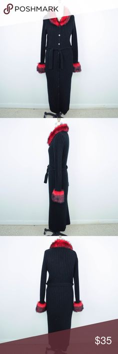 Goth Punk Cardigan Duster Long Red Faux Fur Charlotte Russe Womens Cardigan Sz L Duster Long Red Faux Fur Black Goth Punk Description  Material: 100% acrylic Size: L  Measurements (laid flat in inches):  Armpit-to-armpit: 20 Length: 49.5 **All our products come from a clean and smoke-free household.** Charlotte Russe Sweaters Cardigans