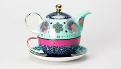 Moroccan Tealeidoscope Aqua Tea For One Tea Cup Saucer, Tea Cups, Teapot Cookies, Disney Cups, Tea For One, Tea Pot Set, Teapots And Cups, Chocolate Pots, High Tea