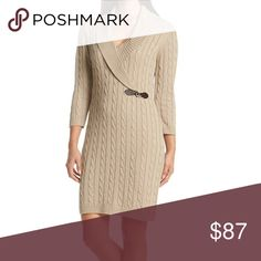 🆕Calvin Klein Khaki Cable Knit Sweater Dress🆕 Featured in khaki; Surplice v-neck wraps to upper left body side; ¾ length sleeves with ribbed cuffs; Adjustable buckle at wrapped side; Cable knit design; Ribbed hem. Made of polyester/acrylic…hand wash. MSRP is $118. Calvin Klein Dresses