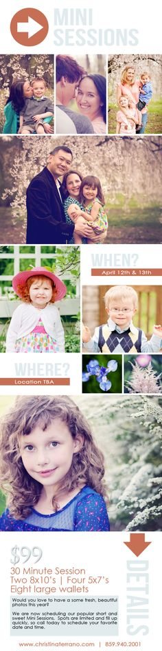 MINI SESSIONS | This years Mini Sessions are already being scheduled!  Visit the link : http://www.christinaterrano.com/mini-sessions to book your Spring Mini Session! | #Lexington #Spring #Session #Kids #Family #Couple