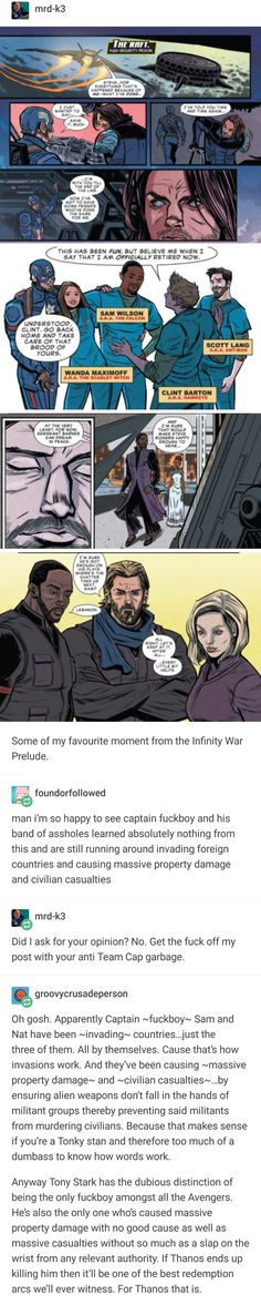 Please play again. Pfft. #cacw << So glad in not the only one more than done with Tony Stark's bullshit