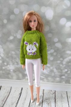Handmade clothes for Barbie dolls hand-knitted bright apple sweater and white leggings for Barbie dolls  #barbie #barbieclothes #barbiedoll