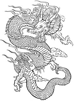 Free coloring page coloring-tatouage-dragon. An impressive Dragon, widely used in the art of tattoo symbol, which constitue an interesting adult coloring page