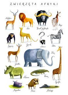 pokój dziecka - obrazy i plakaty-Plakat Zwierzęta Afryki - Joanna Rusinek
