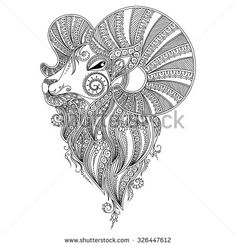 Pattern for coloring book.Coloring book pages for kids and adults. Ram's head. Henna Mehndi Tattoo Style Doodles