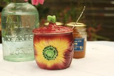 Vintage Shorter and Sons Hand Painted Anemone Preserve Pot with Silver Plated Spoon. English Marmalade Pot. Circa 1940's - 1950's. .