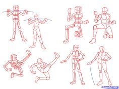 Anime Poses. Step 2 .  Think about drawing simple polygons. When you are drawing an illustration, you don't have to draw a square. However, you must decide which direction each part of the body is facing. And once you have this you'll be fine